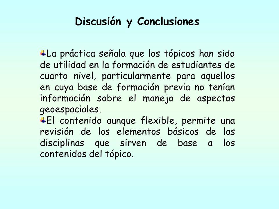 Discusión y Conclusiones La práctica señala que los tópicos han sido de utilidad en la formación de estudiantes de cuarto nivel, particularmente para