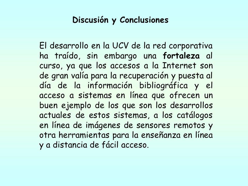 El desarrollo en la UCV de la red corporativa ha traído, sin embargo una fortaleza al curso, ya que los accesos a la Internet son de gran valía para l