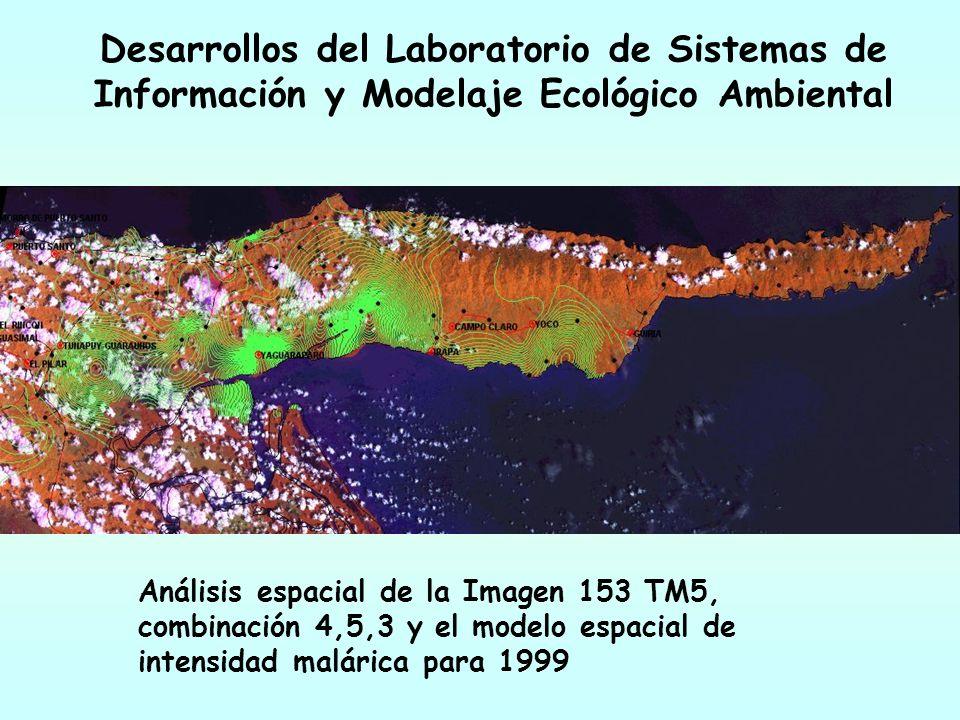 Desarrollos del Laboratorio de Sistemas de Información y Modelaje Ecológico Ambiental Análisis espacial de la Imagen 153 TM5, combinación 4,5,3 y el m