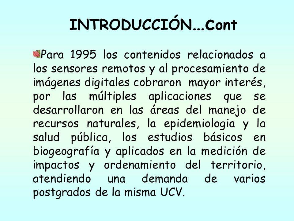 INTRODUCCIÓN …c ont Para 1995 los contenidos relacionados a los sensores remotos y al procesamiento de imágenes digitales cobraron mayor interés, por
