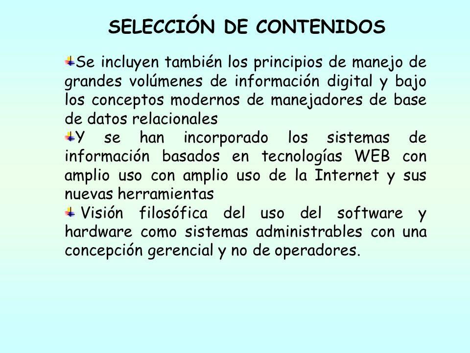 SELECCIÓN DE CONTENIDOS Se incluyen también los principios de manejo de grandes volúmenes de información digital y bajo los conceptos modernos de mane