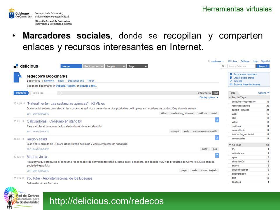 Marcadores socialesMarcadores sociales, donde se recopilan y comparten enlaces y recursos interesantes en Internet. Herramientas virtuales http://deli
