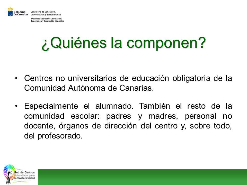 ¿Quiénes la componen? Centros no universitarios de educación obligatoria de la Comunidad Autónoma de Canarias. Especialmente el alumnado. También el r