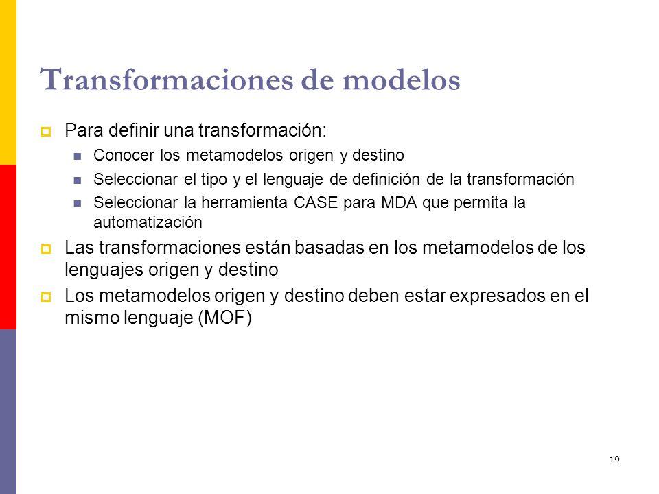 19 Transformaciones de modelos Para definir una transformación: Conocer los metamodelos origen y destino Seleccionar el tipo y el lenguaje de definici