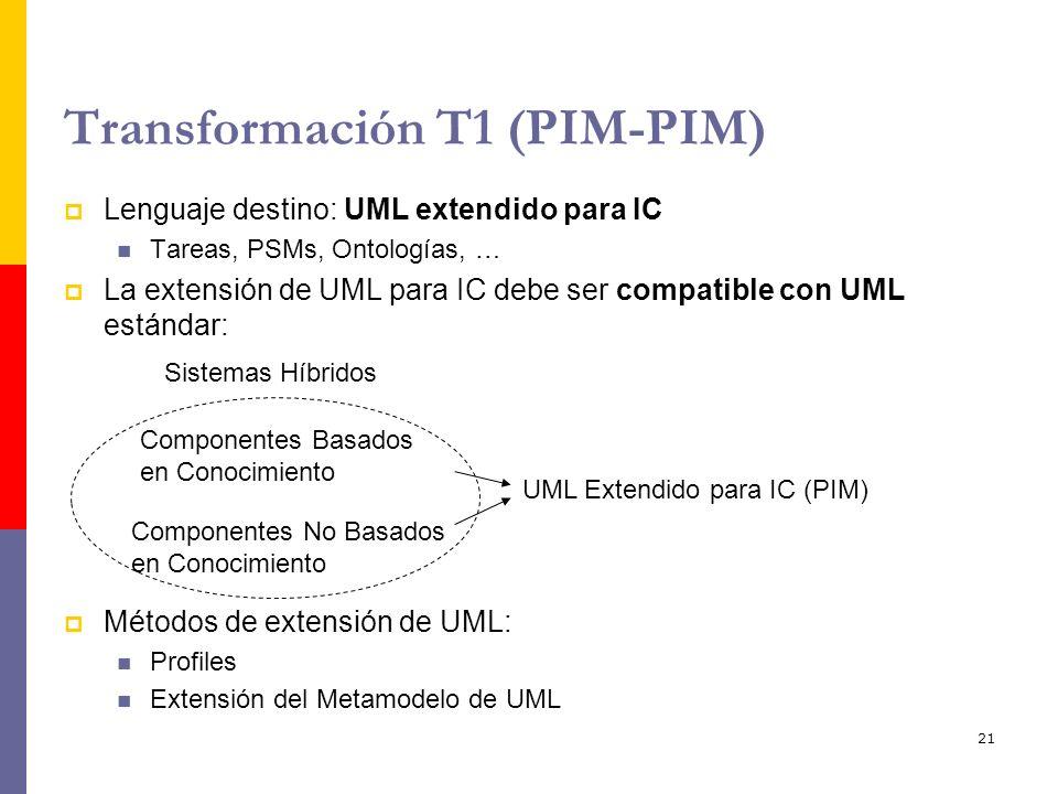 21 Transformación T1 (PIM-PIM) Lenguaje destino: UML extendido para IC Tareas, PSMs, Ontologías, … La extensión de UML para IC debe ser compatible con