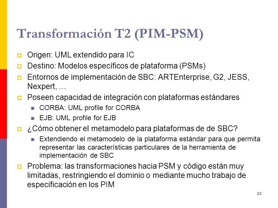 22 Transformación T2 (PIM-PSM) Origen: UML extendido para IC Destino: Modelos específicos de plataforma (PSMs) Entornos de implementación de SBC: ARTE
