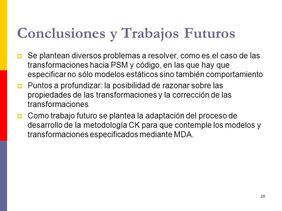 26 Conclusiones y Trabajos Futuros Se plantean diversos problemas a resolver, como es el caso de las transformaciones hacia PSM y código, en las que h