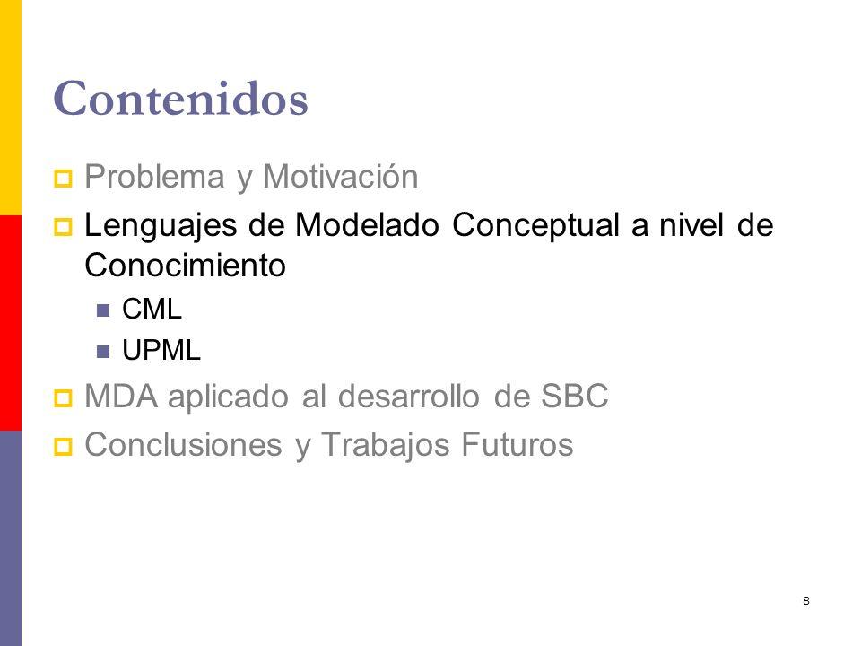 8 Contenidos Problema y Motivación Lenguajes de Modelado Conceptual a nivel de Conocimiento CML UPML MDA aplicado al desarrollo de SBC Conclusiones y