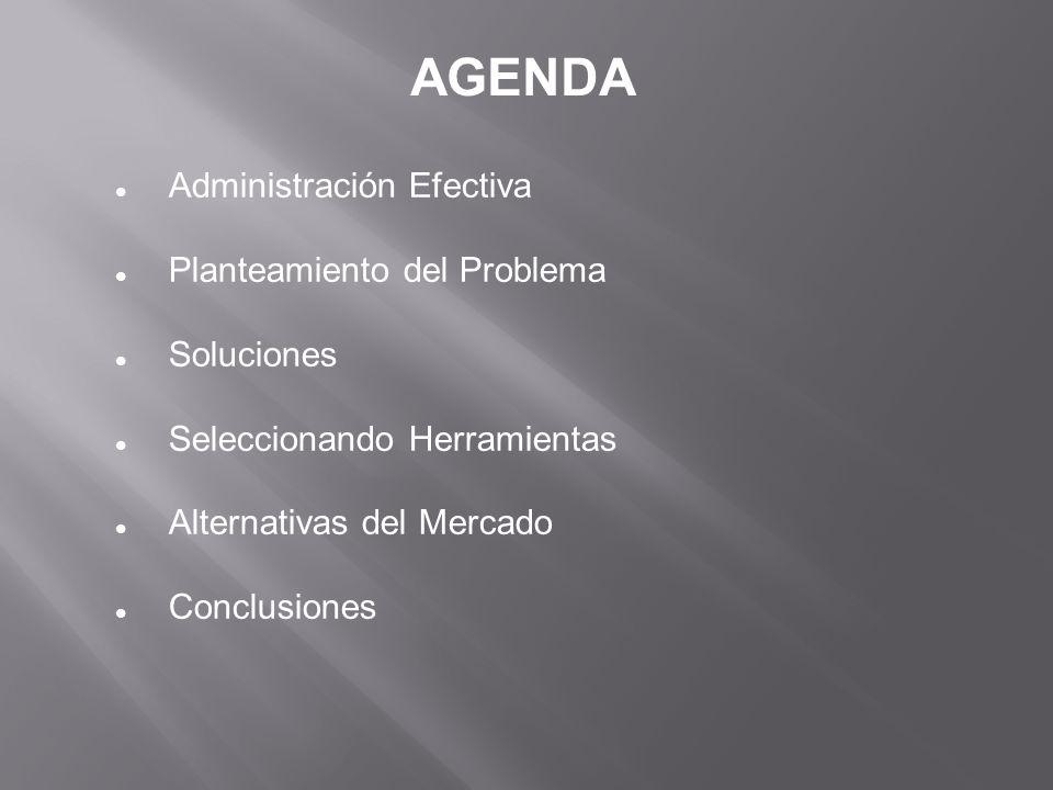AGENDA Administración Efectiva Planteamiento del Problema Soluciones Seleccionando Herramientas Alternativas del Mercado Conclusiones