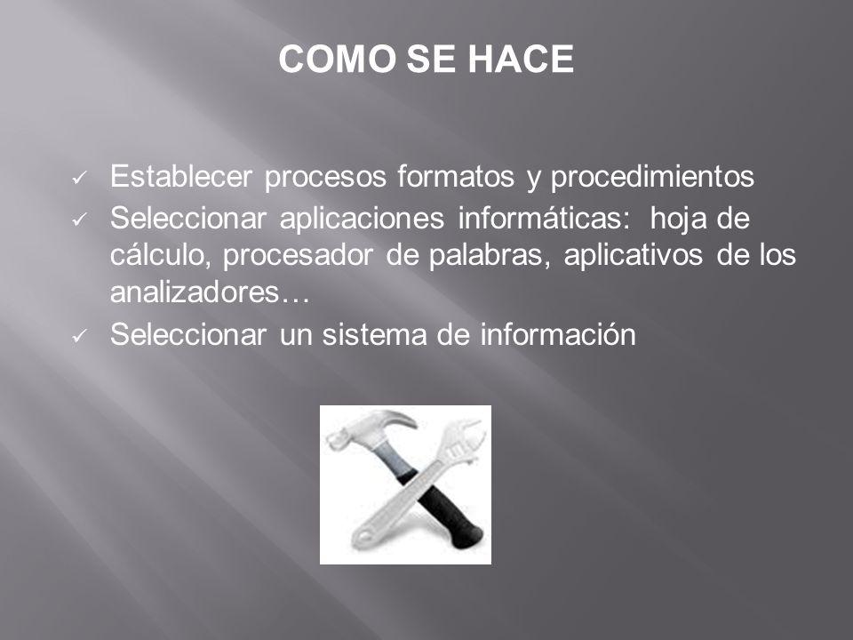 Establecer procesos formatos y procedimientos Seleccionar aplicaciones informáticas: hoja de cálculo, procesador de palabras, aplicativos de los analizadores… Seleccionar un sistema de información COMO SE HACE