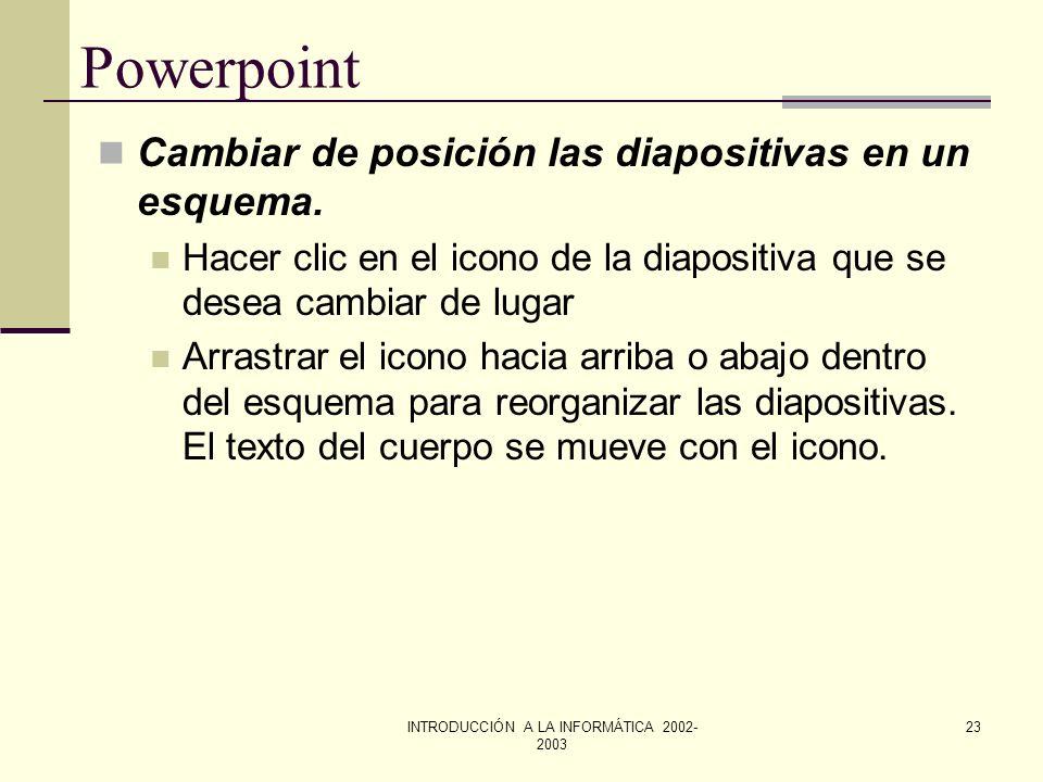INTRODUCCIÓN A LA INFORMÁTICA 2002- 2003 22 Powerpoint Redactar un esquema. En el caso de tratarse de una presentación nueva, se hace clic en el botón