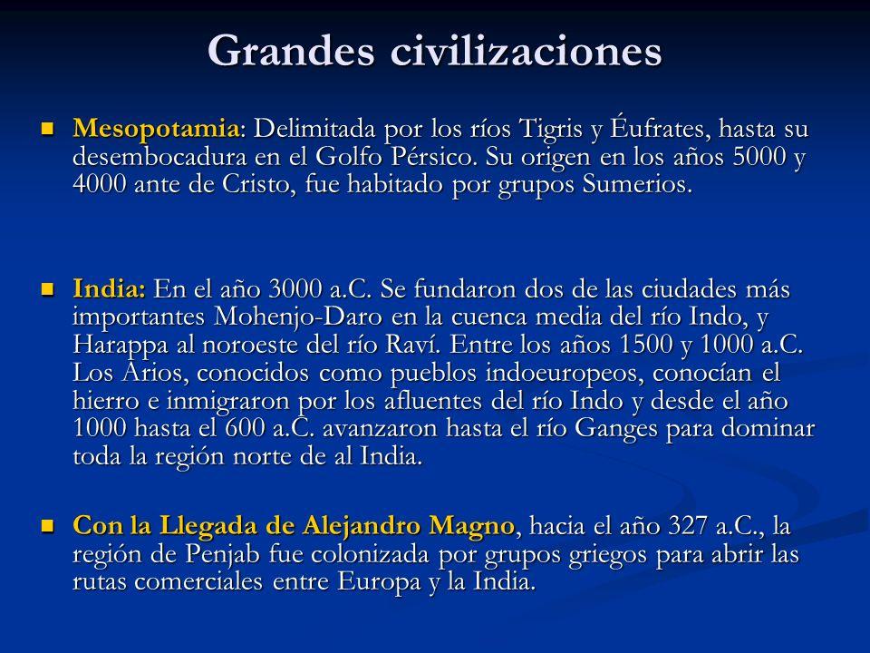 Grandes civilizaciones Mesopotamia: Delimitada por los ríos Tigris y Éufrates, hasta su desembocadura en el Golfo Pérsico.