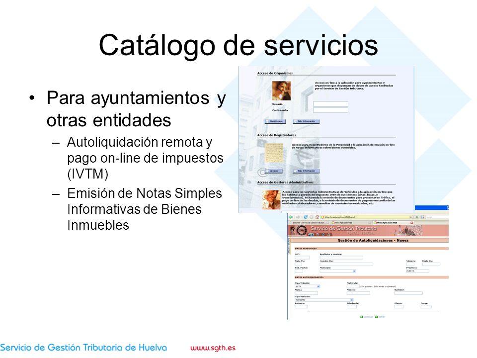 Catálogo de servicios Para ayuntamientos y otras entidades –Autoliquidación remota y pago on-line de impuestos (IVTM) –Emisión de Notas Simples Informativas de Bienes Inmuebles