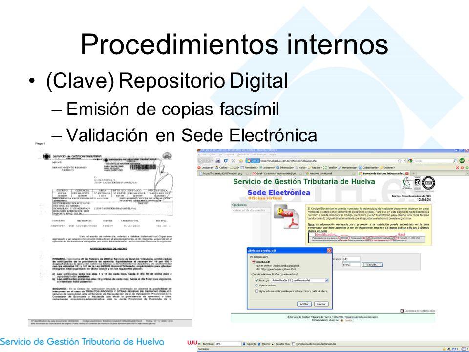 Procedimientos internos (Clave) Repositorio Digital –Emisión de copias facsímil –Validación en Sede Electrónica