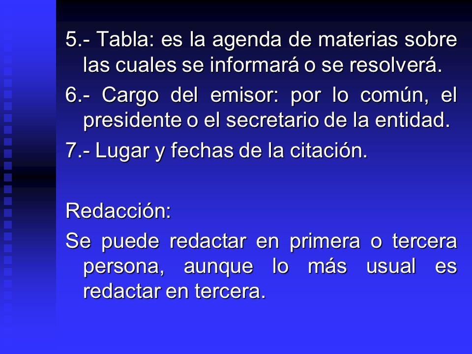 5.- Tabla: es la agenda de materias sobre las cuales se informará o se resolverá. 6.- Cargo del emisor: por lo común, el presidente o el secretario de