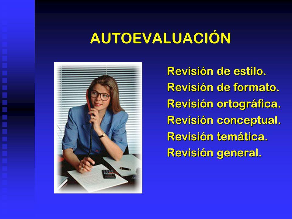 AUTOEVALUACIÓN Revisión de estilo. Revisión de formato. Revisión ortográfica. Revisión conceptual. Revisión temática. Revisión general.