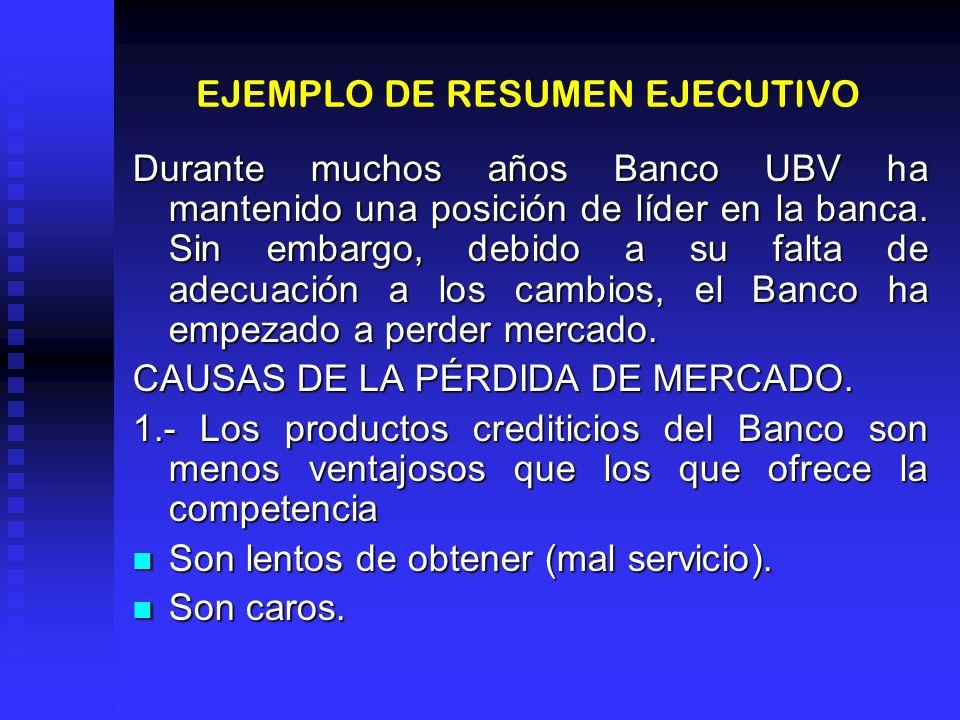 EJEMPLO DE RESUMEN EJECUTIVO Durante muchos años Banco UBV ha mantenido una posición de líder en la banca. Sin embargo, debido a su falta de adecuació