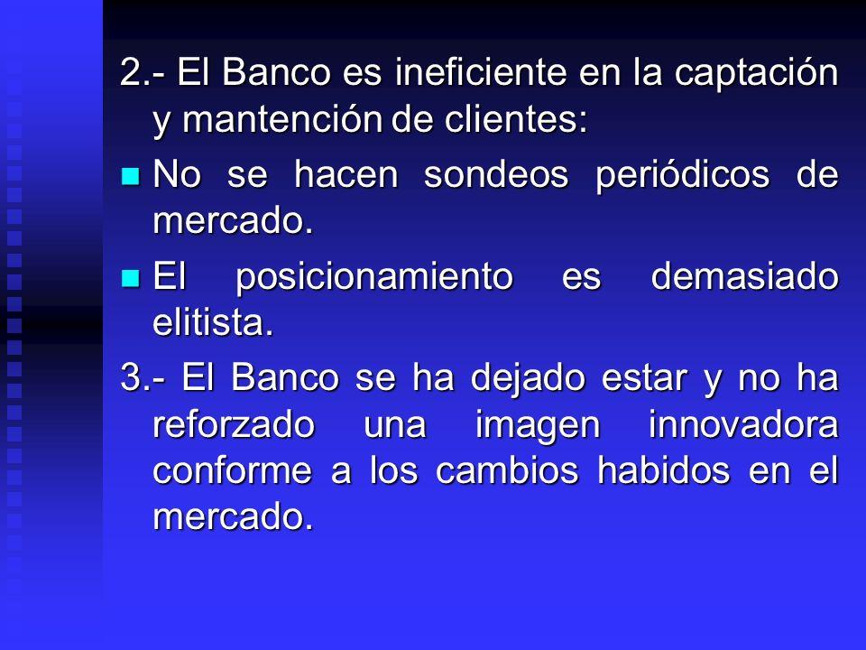 2.- El Banco es ineficiente en la captación y mantención de clientes: No se hacen sondeos periódicos de mercado. No se hacen sondeos periódicos de mer