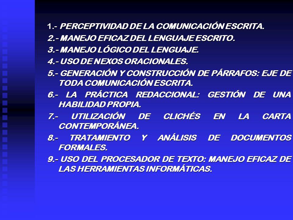 1.- PERCEPTIVIDAD DE LA COMUNICACIÓN ESCRITA. 2.- MANEJO EFICAZ DEL LENGUAJE ESCRITO. 3.- MANEJO LÓGICO DEL LENGUAJE. 4.- USO DE NEXOS ORACIONALES. 5.