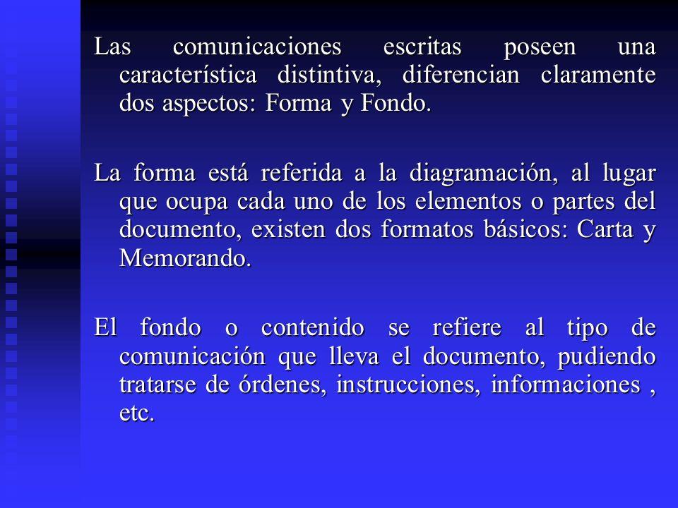 Las comunicaciones escritas poseen una característica distintiva, diferencian claramente dos aspectos: Forma y Fondo. La forma está referida a la diag