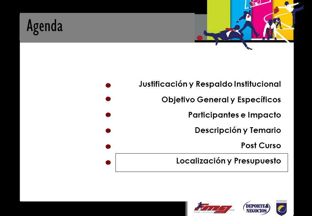 Agenda Justificación y Respaldo Institucional Objetivo General y Específicos Participantes e Impacto Descripción y Temario Post Curso Localización y Presupuesto