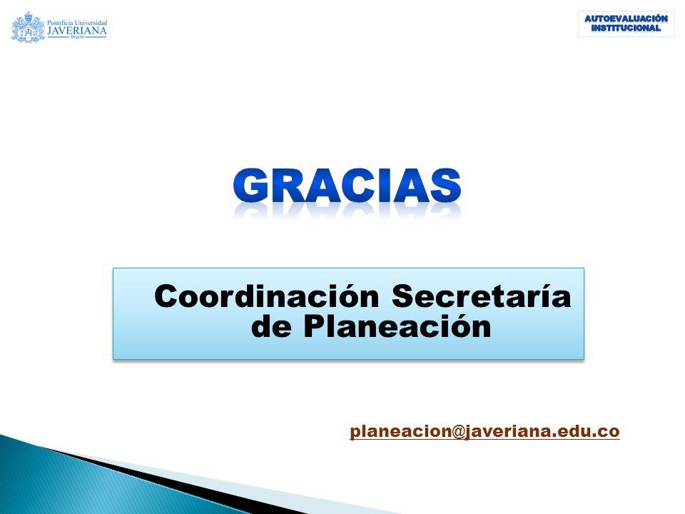 Coordinación Secretaría de Planeación planeacion@javeriana.edu.co