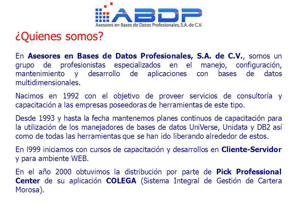 En Asesores en Bases de Datos Profesionales, S.A. de C.V., somos un grupo de profesionistas especializados en el manejo, configuración, mantenimiento