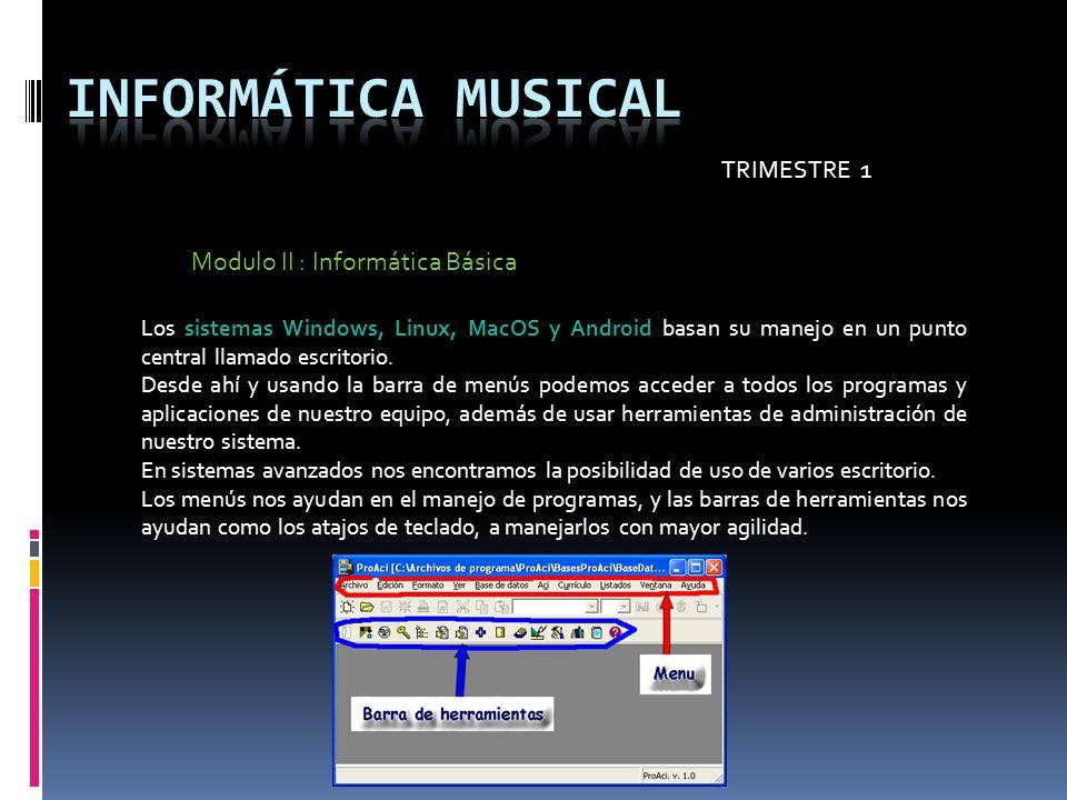 TRIMESTRE 1 Modulo II : Informática Básica Los sistemas Windows, Linux, MacOS y Android basan su manejo en un punto central llamado escritorio. Desde