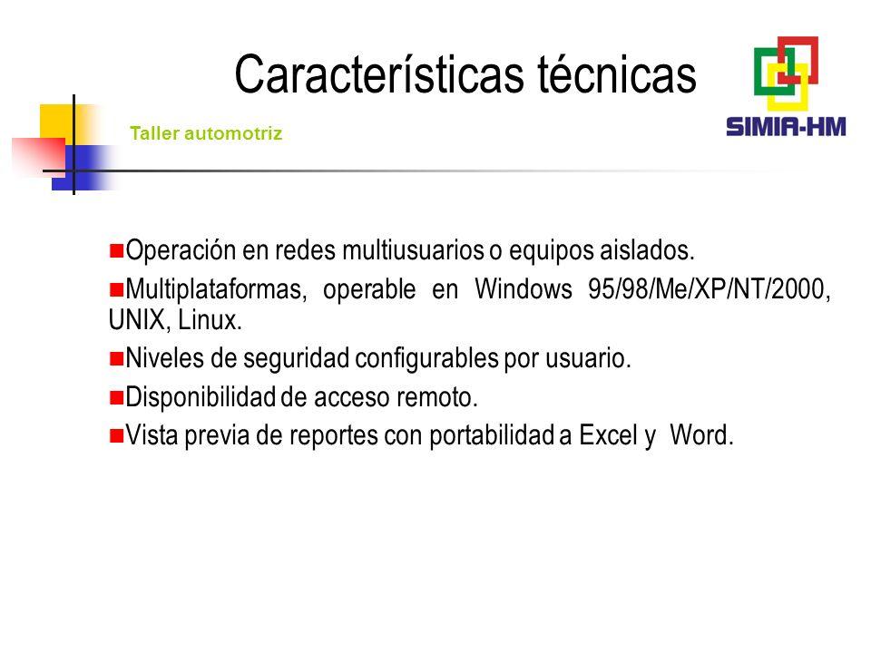 Taller automotriz Emisión de reportes en pantalla y configuración de reportes impresos por los usuarios (orientación del papel, tipo de letra, columnas y renglones e impresora de salida) para computadoras de acceso en Windows.