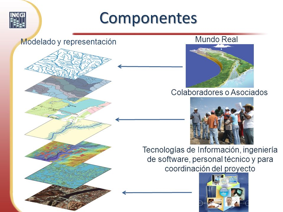 Mundo Real Modelado y representación Colaboradores o Asociados Tecnologías de Información, ingeniería de software, personal técnico y para coordinació