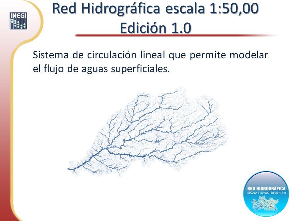 Sistema de circulación lineal que permite modelar el flujo de aguas superficiales. Red Hidrográfica escala 1:50,00 Edición 1.0