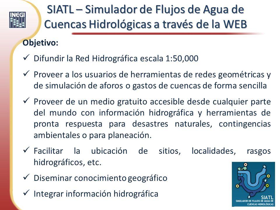 Objetivo: Difundir la Red Hidrográfica escala 1:50,000 Proveer a los usuarios de herramientas de redes geométricas y de simulación de aforos o gastos