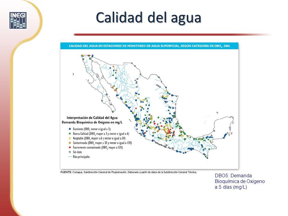 Calidad del agua DBO5: Demanda Bioquímica de Oxigeno a 5 días (mg/L)