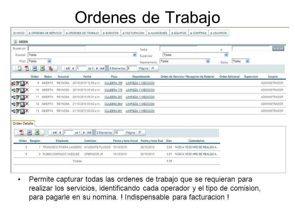 Eventos Permite capturar todos los eventos hora por hora que se llevan a cabo en el campo de trabajo y genera el reporte diario de eventos que solicita Pemex para corroborar bitacoras y generar el pago.