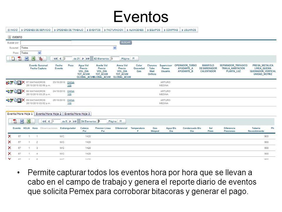 Eventos Permite capturar todos los eventos hora por hora que se llevan a cabo en el campo de trabajo y genera el reporte diario de eventos que solicit