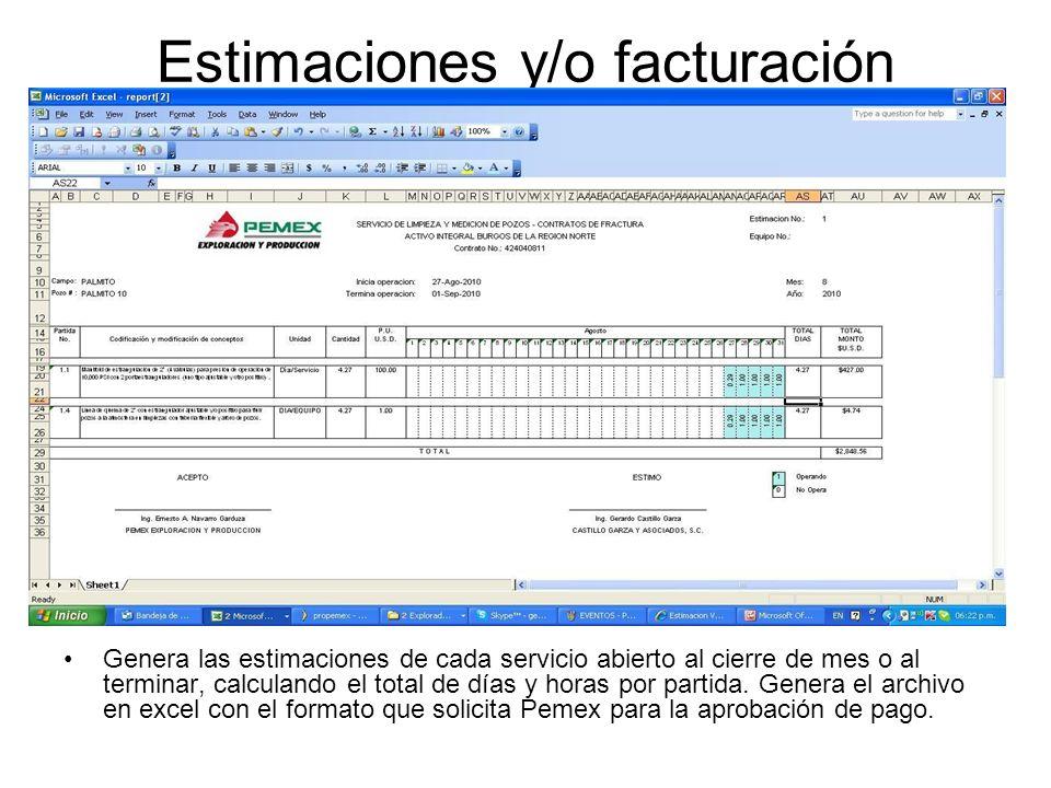 Estimaciones y/o facturación Genera las estimaciones de cada servicio abierto al cierre de mes o al terminar, calculando el total de días y horas por