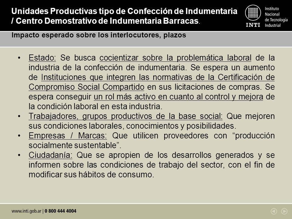 Unidades Productivas tipo de Confección de Indumentaria / Centro Demostrativo de Indumentaria Barracas. Impacto esperado sobre los interlocutores, pla
