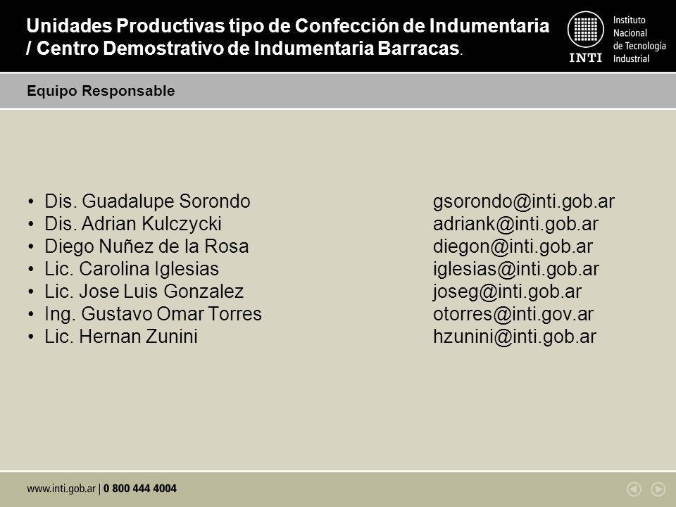 Dis. Guadalupe Sorondogsorondo@inti.gob.ar Dis. Adrian Kulczyckiadriank@inti.gob.ar Diego Nuñez de la Rosadiegon@inti.gob.ar Lic. Carolina Iglesiasigl