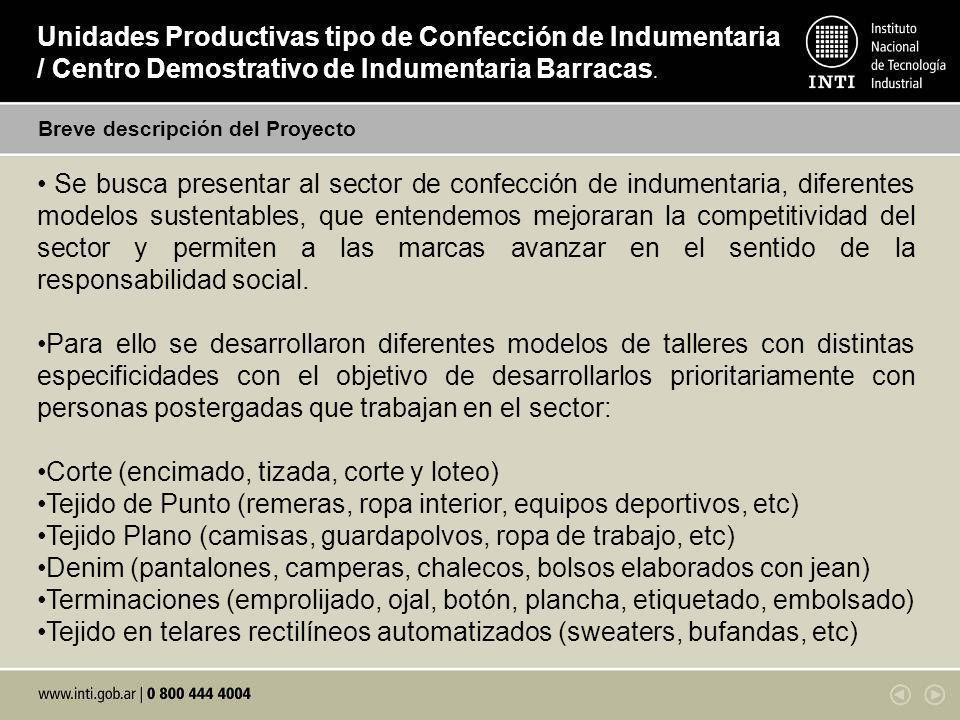 Breve descripción del Proyecto Unidades Productivas tipo de Confección de Indumentaria / Centro Demostrativo de Indumentaria Barracas. Se busca presen
