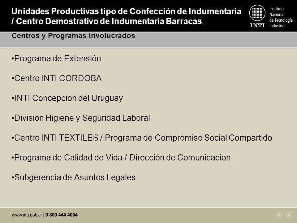 Programa de Extensión Centro INTI CORDOBA INTI Concepcion del Uruguay Division Higiene y Seguridad Laboral Centro INTI TEXTILES / Programa de Compromi