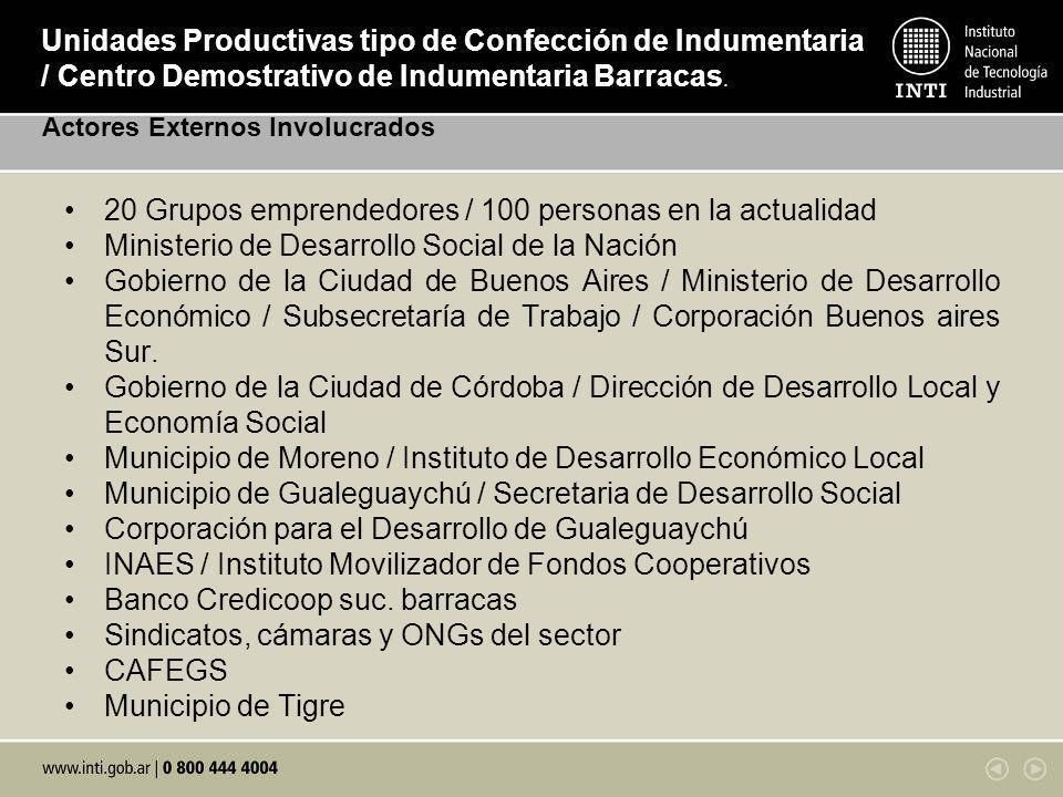 20 Grupos emprendedores / 100 personas en la actualidad Ministerio de Desarrollo Social de la Nación Gobierno de la Ciudad de Buenos Aires / Ministeri
