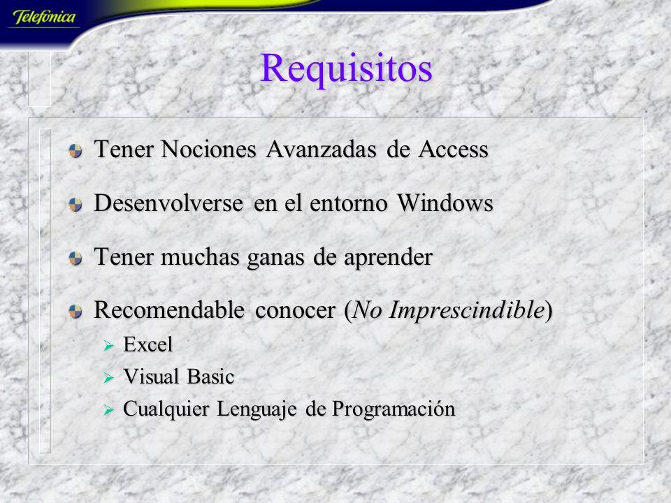 Requisitos Tener Nociones Avanzadas de Access Desenvolverse en el entorno Windows Tener muchas ganas de aprender Recomendable conocer (No Imprescindible) Excel Excel Visual Basic Visual Basic Cualquier Lenguaje de Programación Cualquier Lenguaje de Programación