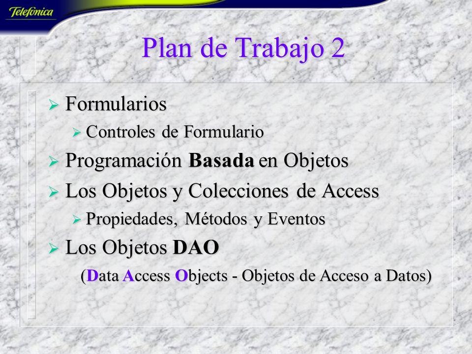 Plan de Trabajo 2 Formularios Formularios Controles de Formulario Controles de Formulario Programación Basada en Objetos Programación Basada en Objetos Los Objetos y Colecciones de Access Los Objetos y Colecciones de Access Propiedades, Métodos y Eventos Propiedades, Métodos y Eventos Los Objetos DAO Los Objetos DAO (Data Access Objects - Objetos de Acceso a Datos) (Data Access Objects - Objetos de Acceso a Datos)