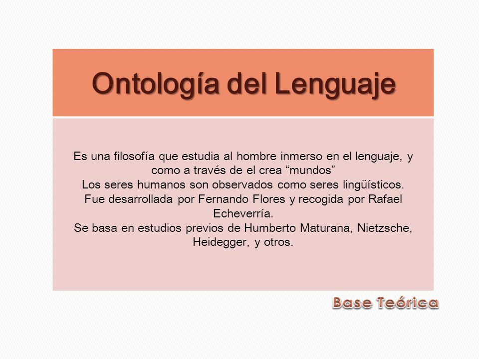 Ontología del Lenguaje Es una filosofía que estudia al hombre inmerso en el lenguaje, y como a través de el crea mundos Los seres humanos son observad