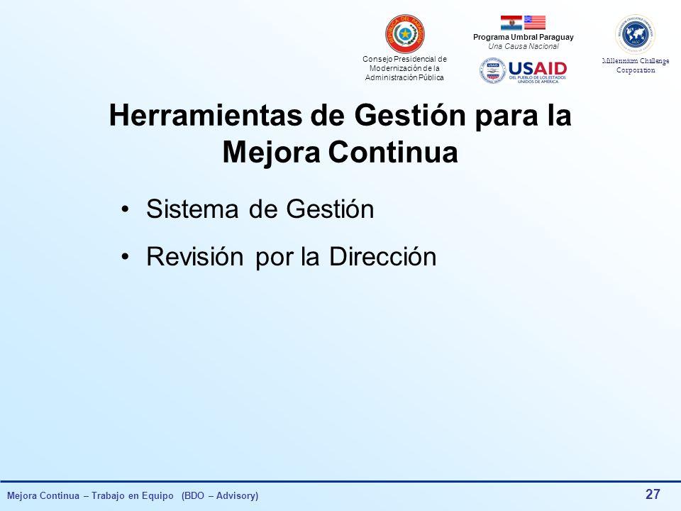 Consejo Presidencial de Modernización de la Administración Pública Millennium Challenge Corporation Programa Umbral Paraguay Una Causa Nacional Mejora Continua – Trabajo en Equipo (BDO – Advisory) 26 100% Eficiencia Rev.0 Rev.