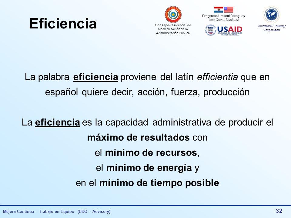 Consejo Presidencial de Modernización de la Administración Pública Millennium Challenge Corporation Programa Umbral Paraguay Una Causa Nacional Mejora Continua – Trabajo en Equipo (BDO – Advisory) 31 Herramientas de Gestión para la Mejora Continua Sistema de Gestión Revisión por la Dirección Tablero de Comando