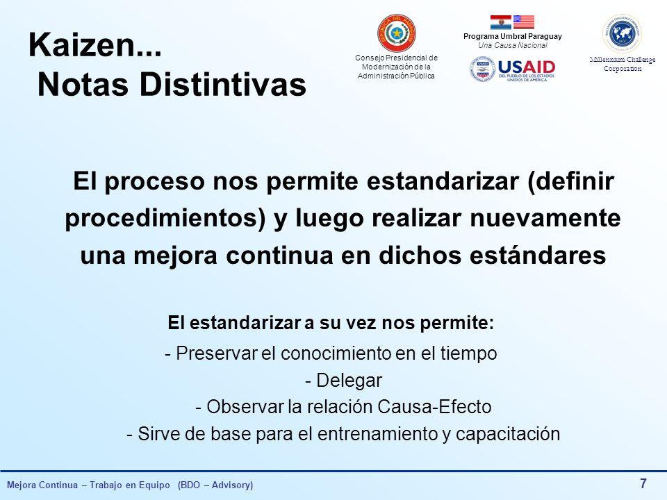 Consejo Presidencial de Modernización de la Administración Pública Millennium Challenge Corporation Programa Umbral Paraguay Una Causa Nacional Mejora Continua – Trabajo en Equipo (BDO – Advisory) 7 Kaizen...