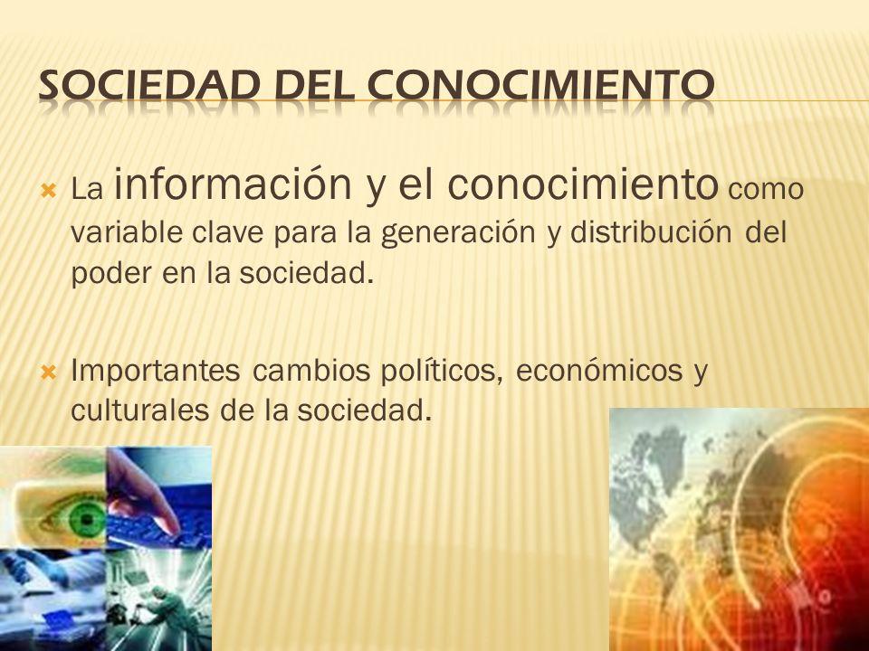 La información y el conocimiento como variable clave para la generación y distribución del poder en la sociedad. Importantes cambios políticos, económ