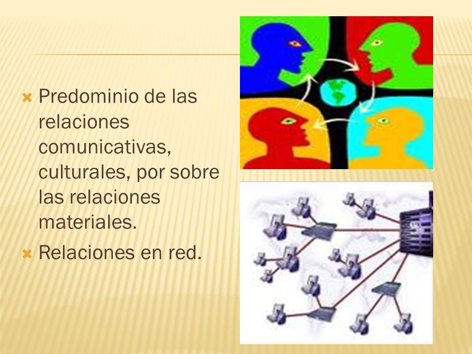 Predominio de las relaciones comunicativas, culturales, por sobre las relaciones materiales. Relaciones en red.