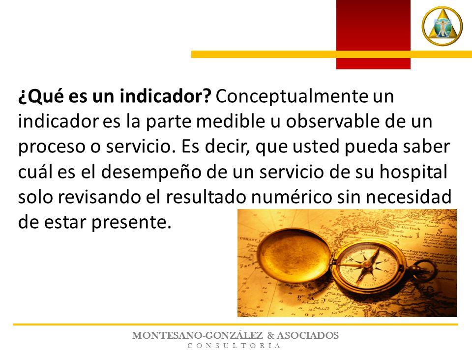 MONTESANO-GONZÁLEZ & ASOCIADOS CONSULTORIA ¿Qué es un indicador? Conceptualmente un indicador es la parte medible u observable de un proceso o servici